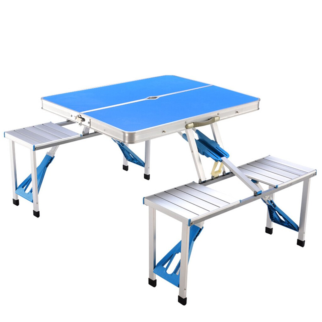 TMY Klapptisch und Stuhl Set Outdoor Tragbare Heavy Duty Aluminiumlegierung Tisch für Garten Strand Camping (Farbe : Blau)