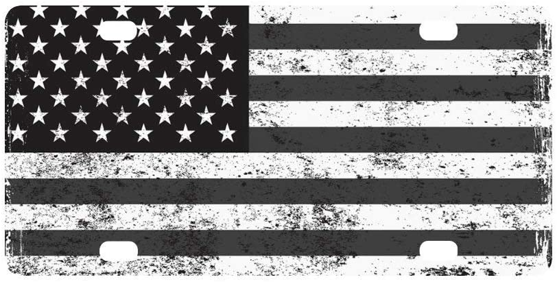 qidushop Grunge Schwarz//Wei/ß Amerikanische Flagge Vintage USA Flagge Auto Nummernschild Rahmen Cover Schminkschild