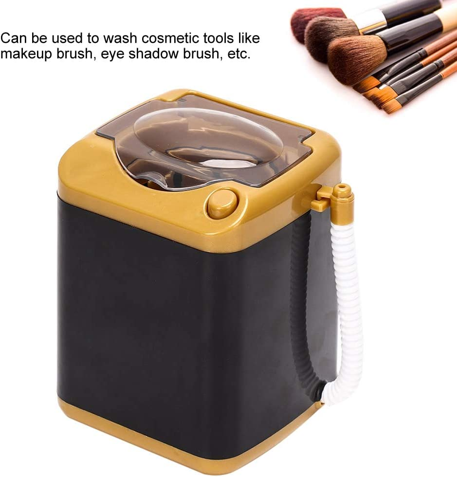 Quick Cleaning /& Quick Drying Washing Machine Children Toy Gift Electric Mini Washing Machine for Make up Brushes with Dehydration Function 金色
