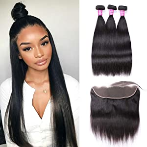 Sdamey Brazilian Straight Hair 3 Bundles With Frontal Closure 13x4 Ear To Ear Lace Frontal With Bundles Unprocessed Virgin Human Hair Extensions Natural Color