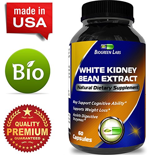 White Kidney Bean 100% Pure Extract - Natural Dietary Supplement for Weight Loss Boost Energy Appetite Suppressant Carb Interceptor Starch Blocker - Potent Formula for Women and Men by Biogreen Labs
