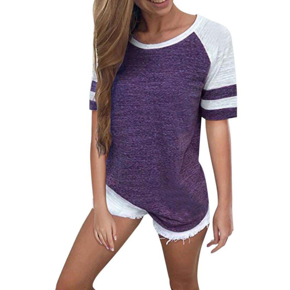 iLOOSKR Fashion Women's Short Sleeve and Long Sleeve T-Shirt Round Neck Panel Top Shirt Pullove(Purple,XXXL)