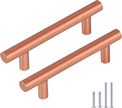 Gobrico 10 Pack T Bar Kitchen Cabinet Handles Copper Dresser Pulls 3 3 4 Inch Hole Center Solid Stainless Steel Cabinet Hardware Amazon Com