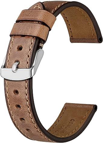 Anbeer 18mm Correa de Reloj de Cuero, Pulsera de Repuesto Piel de Becerro Retro Hombre Mujer,Marrón: Amazon.es: Relojes