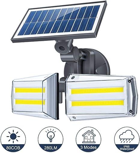 Luz Solar Exterior Foco 80 LED con Sensor de Movimiento 80 LED Impermeable IP65 Gran Ángulo 270º de Iluminación 3 Modos Inteligentes para Entrada Garaje, Patio, Jardín Decorativa: Amazon.es: Iluminación