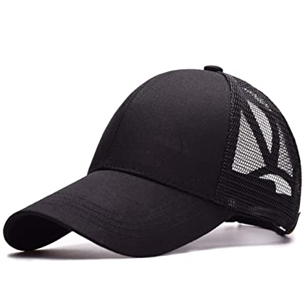 445f9a579b0 DoorsGu Women s Ponytail Baseball Cap Cap Messy Bun Adjustable Outdoor Sport  Snap Back Hats Black Adjustable