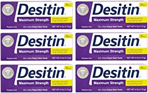 Desitin Maximum Strength Diaper Rash Paste 4 oz tube (Pack of 6)