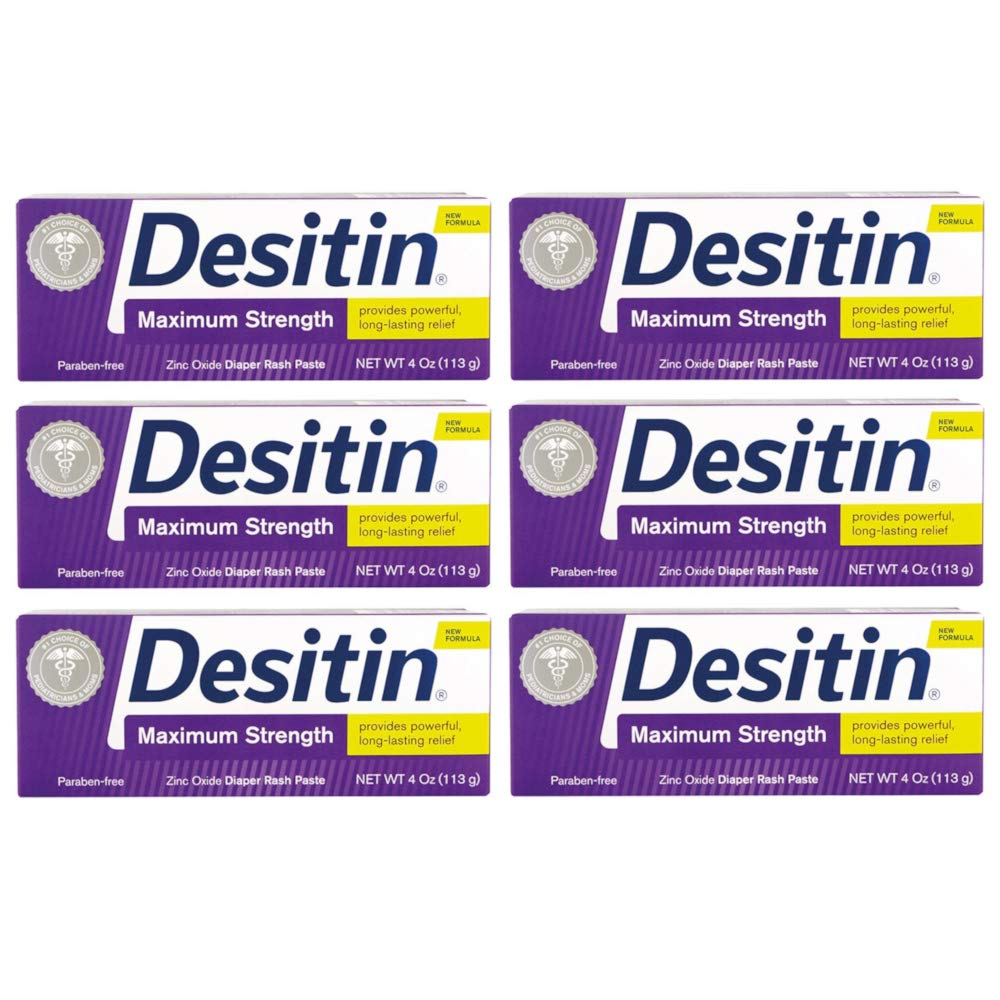 DESITIN Maximum Strength Diaper Rash Paste 4 oz (Pack of 6) by Desitin