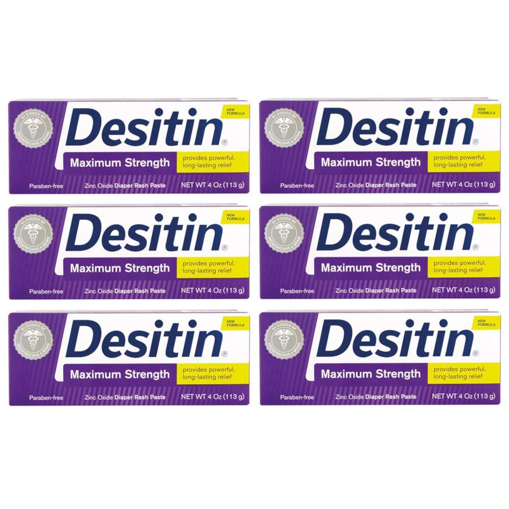 Desitin Diaper Rash Paste, Maximum Strength, 4 Ounces (Pack of 6)