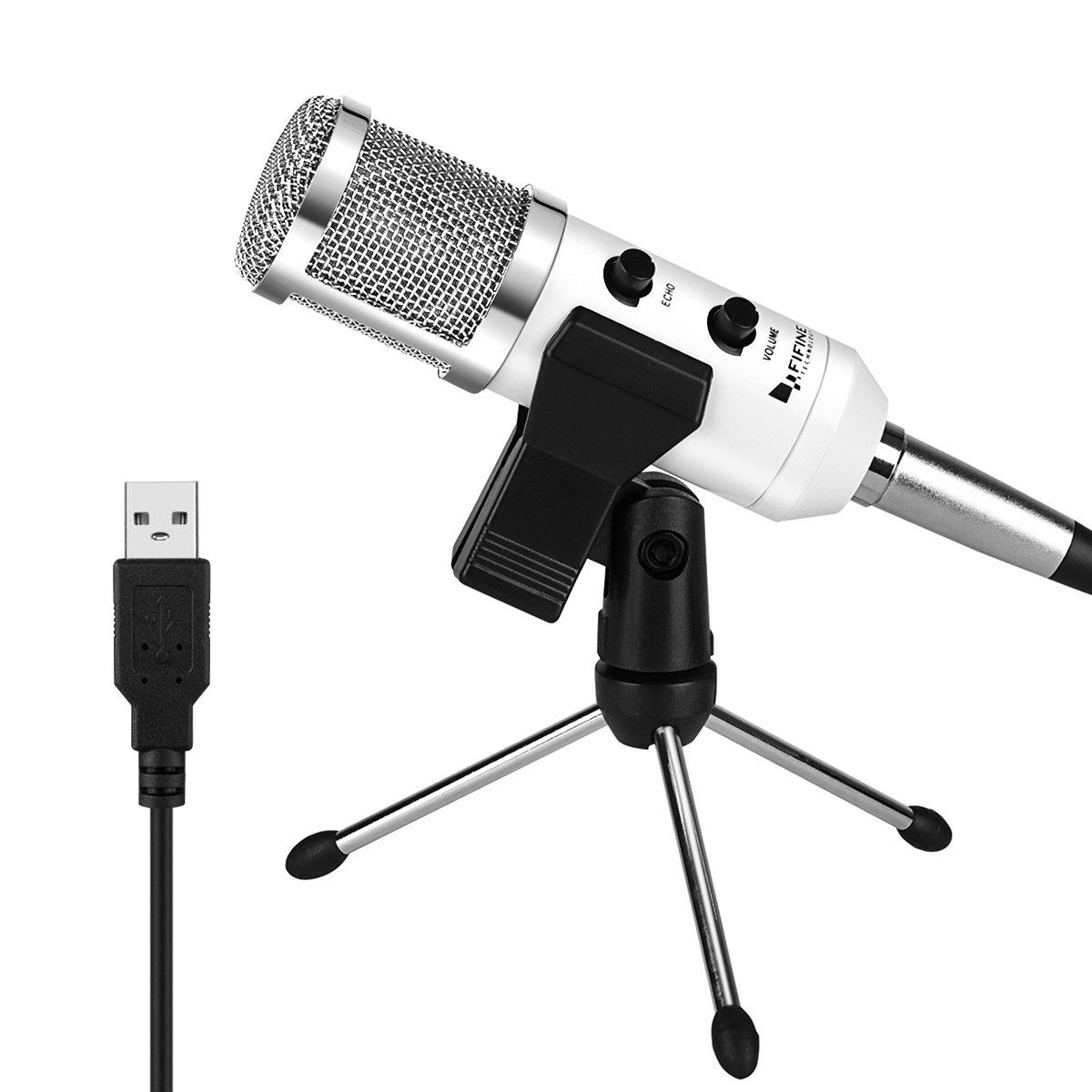 Fifine Microfono a Condensatore, USB Tipo-C, Plug and Play, con Treppiedi, con Staffa e Antivento in Schiuma, nero K058