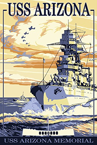 USS Arizona Battleship - Sunset Scene (12x18 Art Print, Wall Decor Travel Poster)