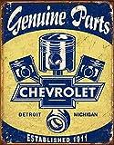 "Desperate Enterprises Chevrolet Genuine Parts - Pistons Tin Sign, 12.5"" W x 16"" H"