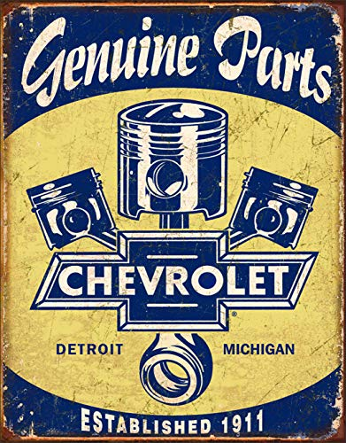 Desperate Enterprises Chevrolet Genuine Parts - Pistons Tin Sign, 12.5