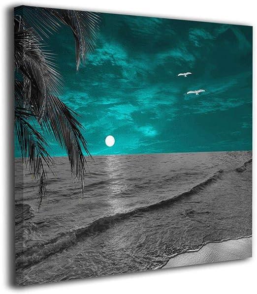 Amazon Com Ale Art Coastal Beach Palm Teal Gray Modern Canvas