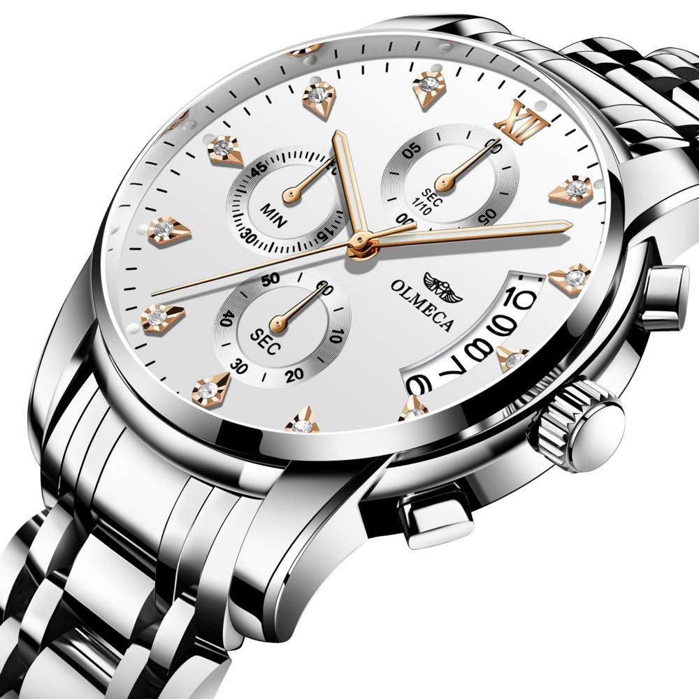 Amazon.com: OLMECA Mens Watches Top Brand Luxury Business Watch 3ATM Waterproof Watches Rattrapante Chronograph Wristwatch: Watches
