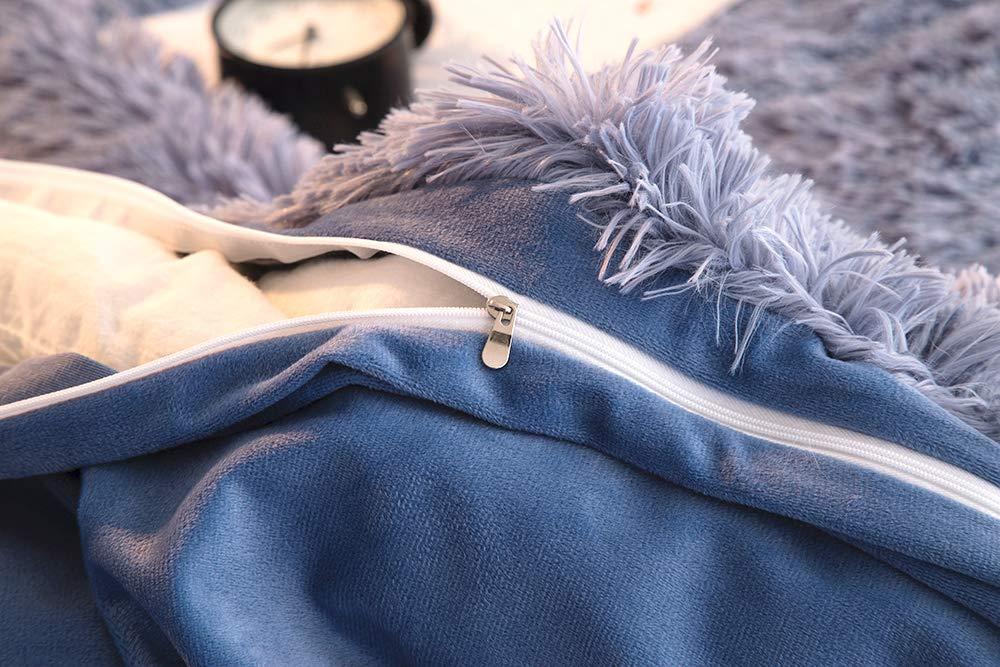 Zipper Close Full 1pc Duvet Cover, Slateblue No Inside Filler Ceruleanhome 1pc 100/% Velvet Flannel Duvet Cover Set Solid Color