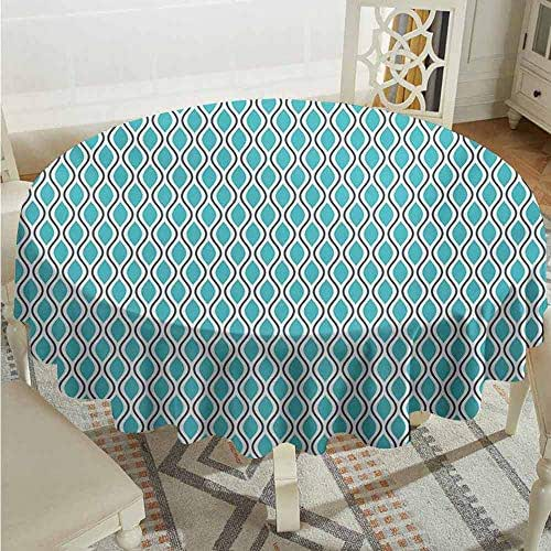 XXANS Indoor/Outdoor Round Tablecloth,Abstract,Vertical Wavy Lines Oval Double S Shapes Curves Ogee Pattern,Party Decorations Table Cover Cloth,60 INCH,Turquoise Charcoal Grey White