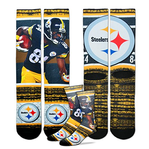 For Bare Feet Pittsburgh Steelers NFL Rush Player Profile Socks - Antonio Brown (Medium)