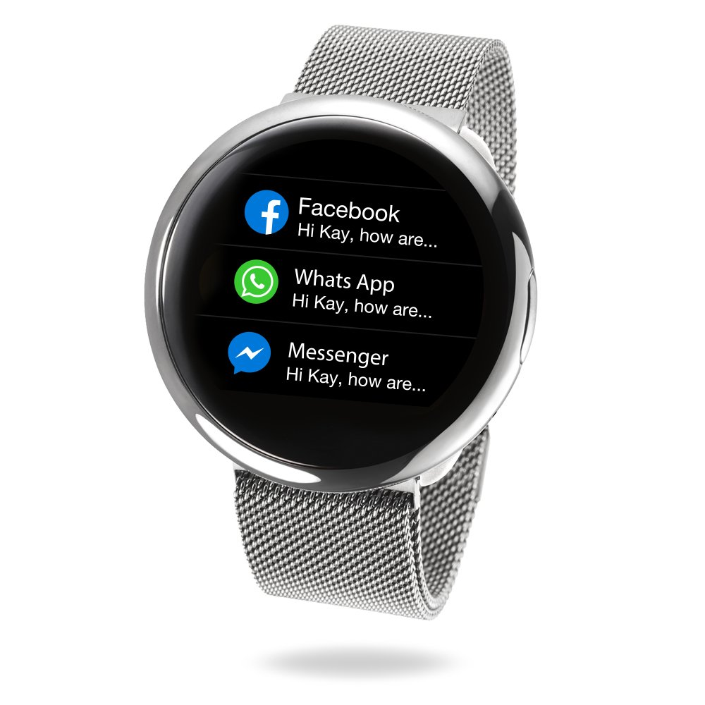 MyKronoz ZeRound2 HR Elite Smartwatch with Heart Rate Monitoring and Smart Notifications, Swiss Design, iOS and Android - Shiny Silver/Milanese Silver ...