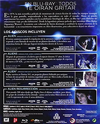 Alien Antologia 2014 - Blu-Ray [Blu-ray]: Amazon.es: Sigourney Weaver, Tom Skerritt, John Hurt, Michael Biehn, Carrie Henn, Charles Dutton, Charles Dance, Winona Ryder, Dominique Pinon, Veronica Cartwright, Harry Dean Stanton, Paul Mcgann,