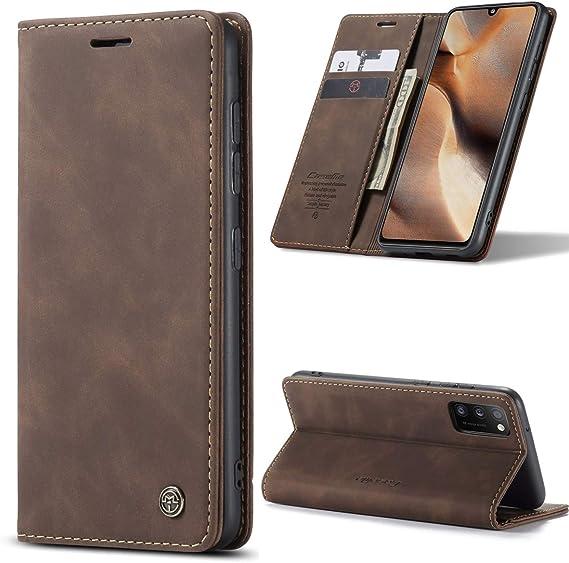 AKC Funda Compatible para Samsung Galaxy S10 Carcasa con Flip Case Cover Cuero Magn/ético Plegable Carter Soporte Prueba de Golpes Caso-Caf/é