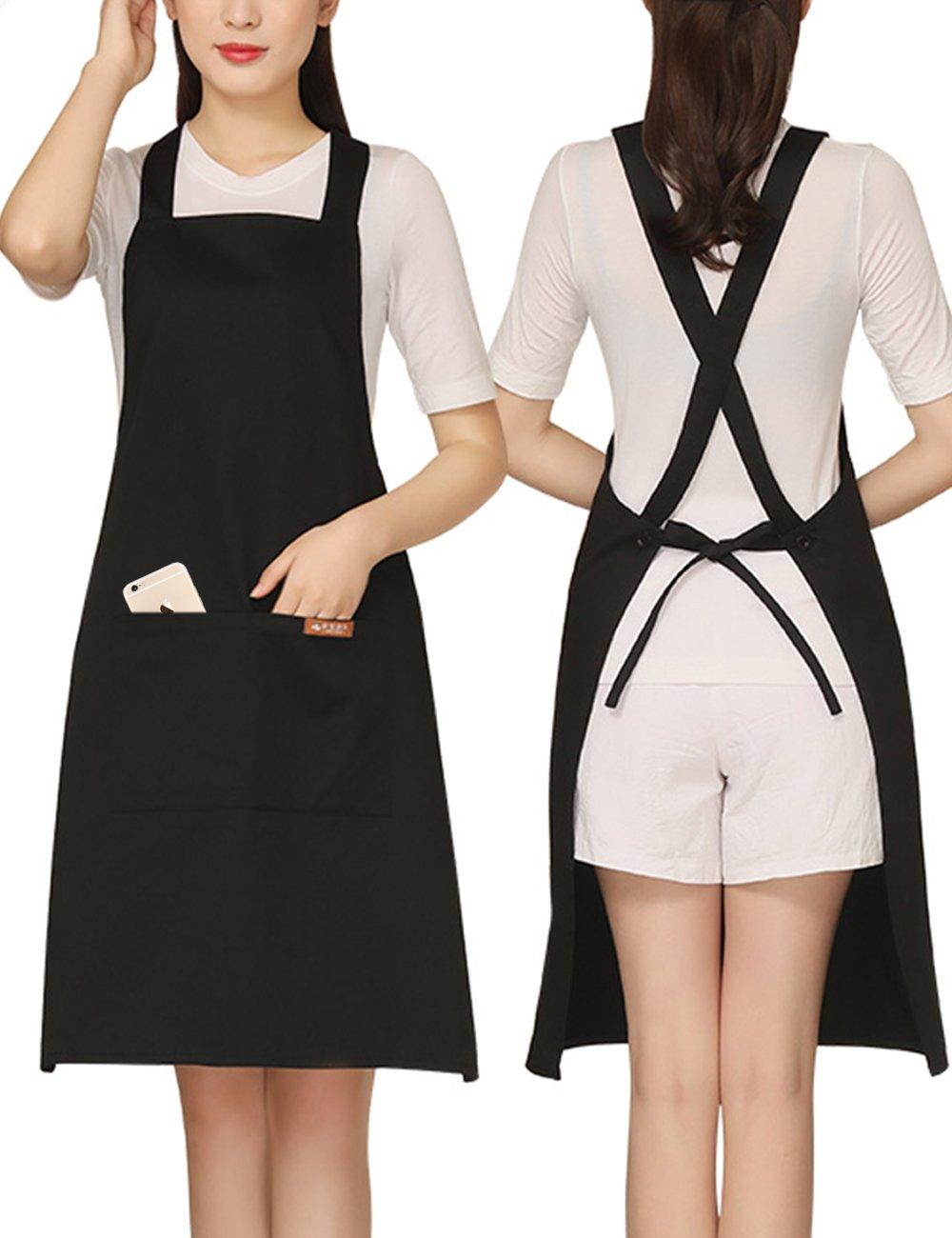 Adjustable Grilling Apron with 2 Pockets Cotton for Stylist,Barber,Teacher,Cobbler Fits for Paint,Vintage,Baking Wine Color Black