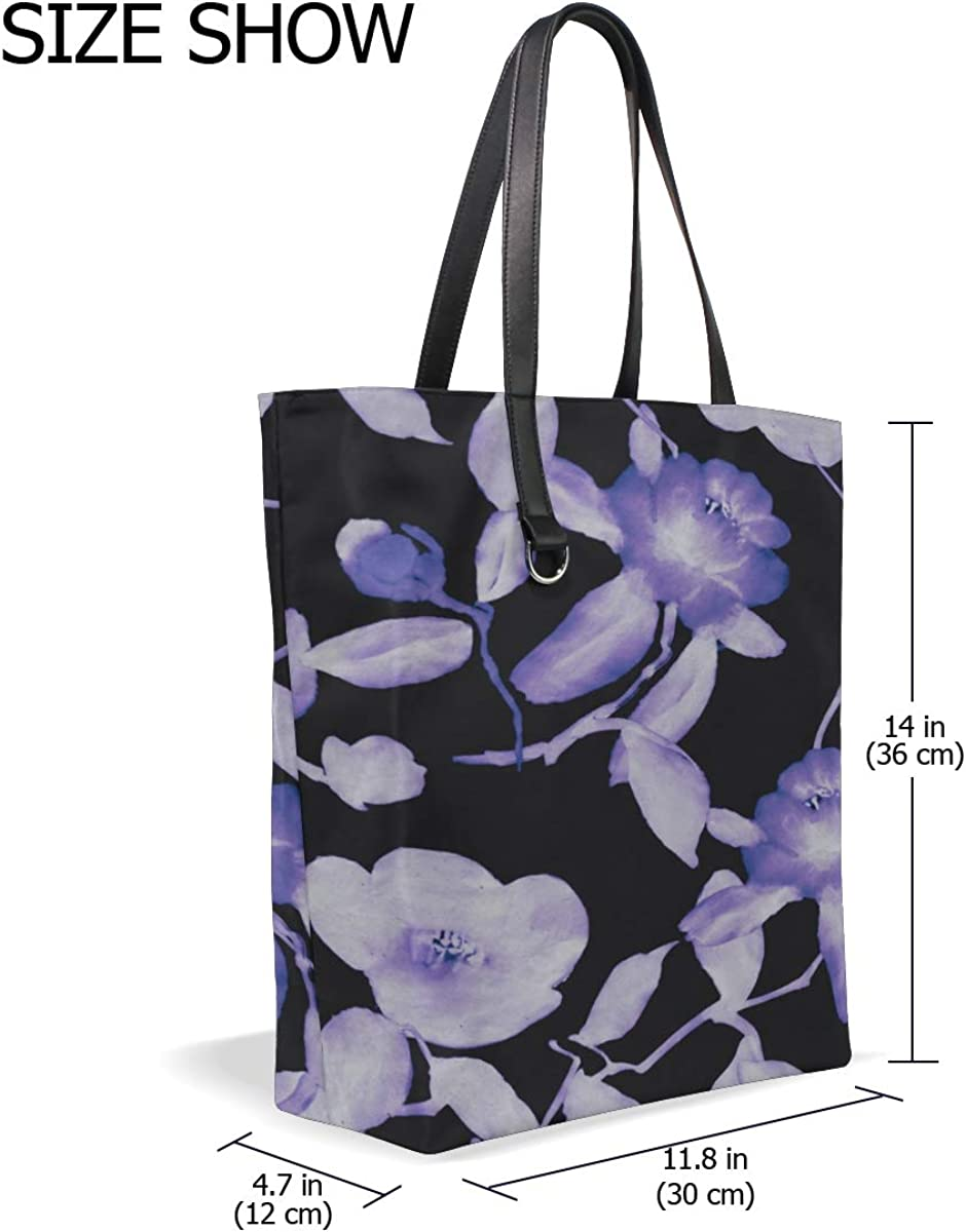Gym Tote Bag Handle Satchel The Shoulder Bag Purse Messenger Bags Tote Holder Purple Retronatural Flower Camellia Printing Handbag Tote