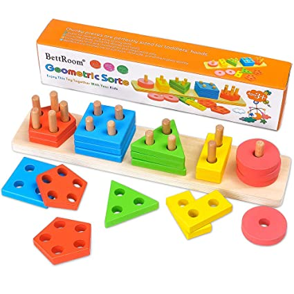 New Educational Baby Kids Puzzle Wooden Toy Geometric Sorting Board Blocks WE