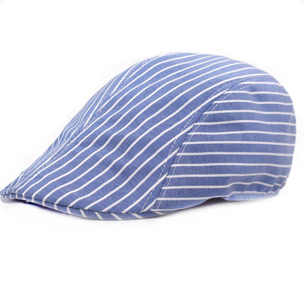 Kentop, cappello da golfista a strisce, berretto a visiera, berretto, coppola, Gatsby, basco, da uomo e da donna, Cotone, Blu, 56-58cm