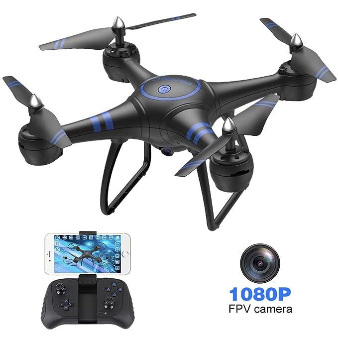 AKASO A31 Drone con Cámara 1080P HD Avión con WiFi FPV LED Control Remoto Modo sin Cabeza Volteos 3D Estabilización de Altitud RC Quadcopter Drone para Niños Principiantes Adultos