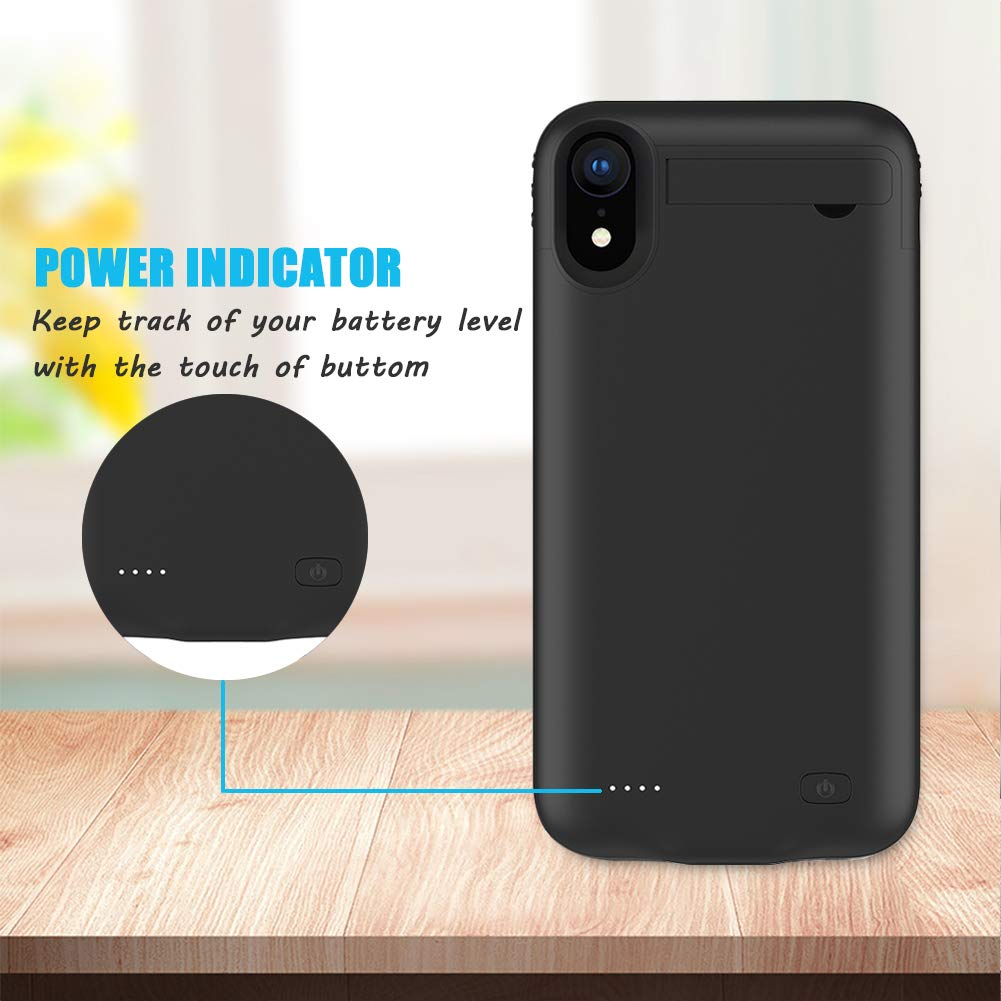 Black 6.1 inch Power Bank iPhone XR Battery Case,FNSON 4200mAh Portable Charger Case Ultra-Thin Rechargeable Extended Battery Pack Protective Backup Charging Case Cover for iPhone XR