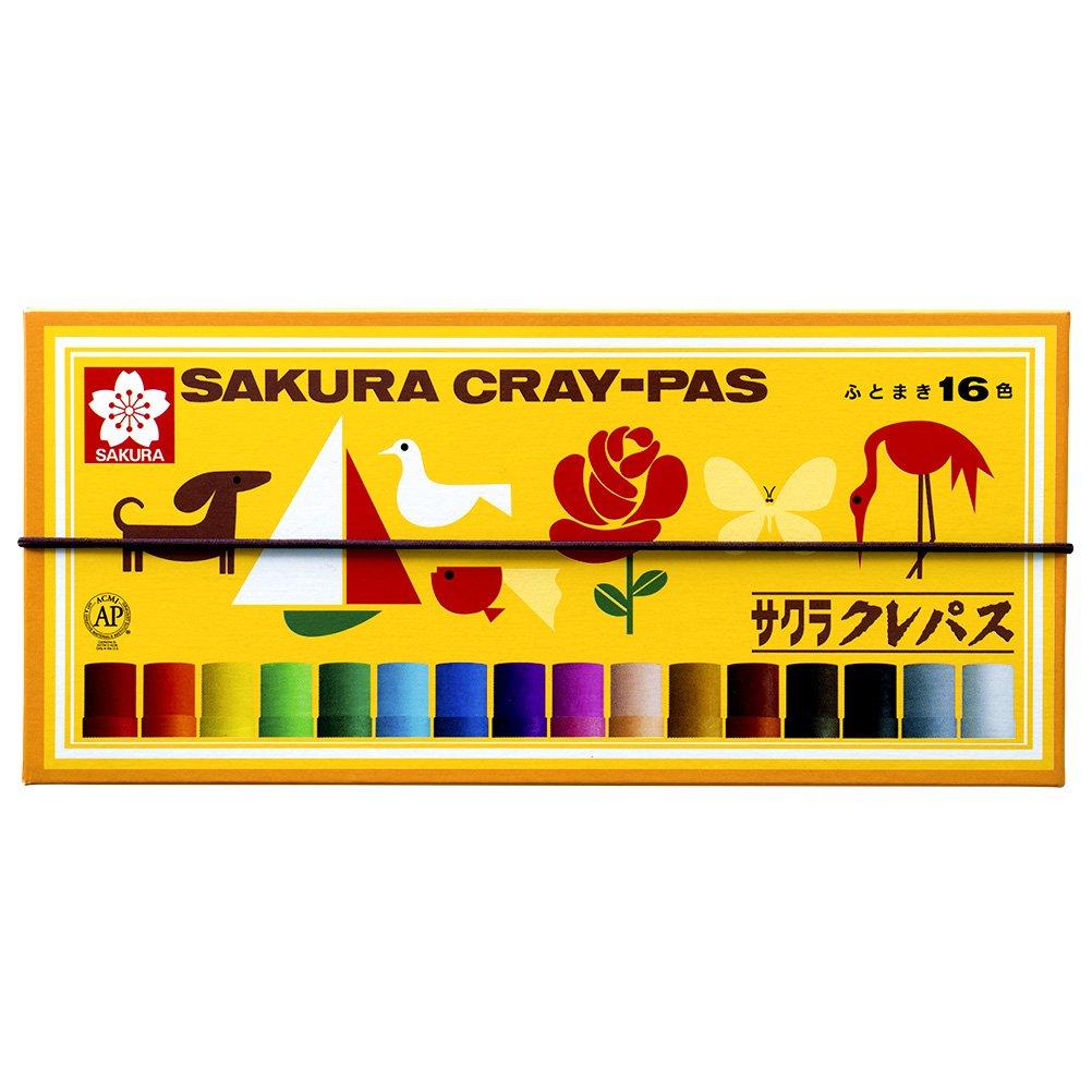 サクラクレパス クレパス 16色 ゴムバンド付き LP16R