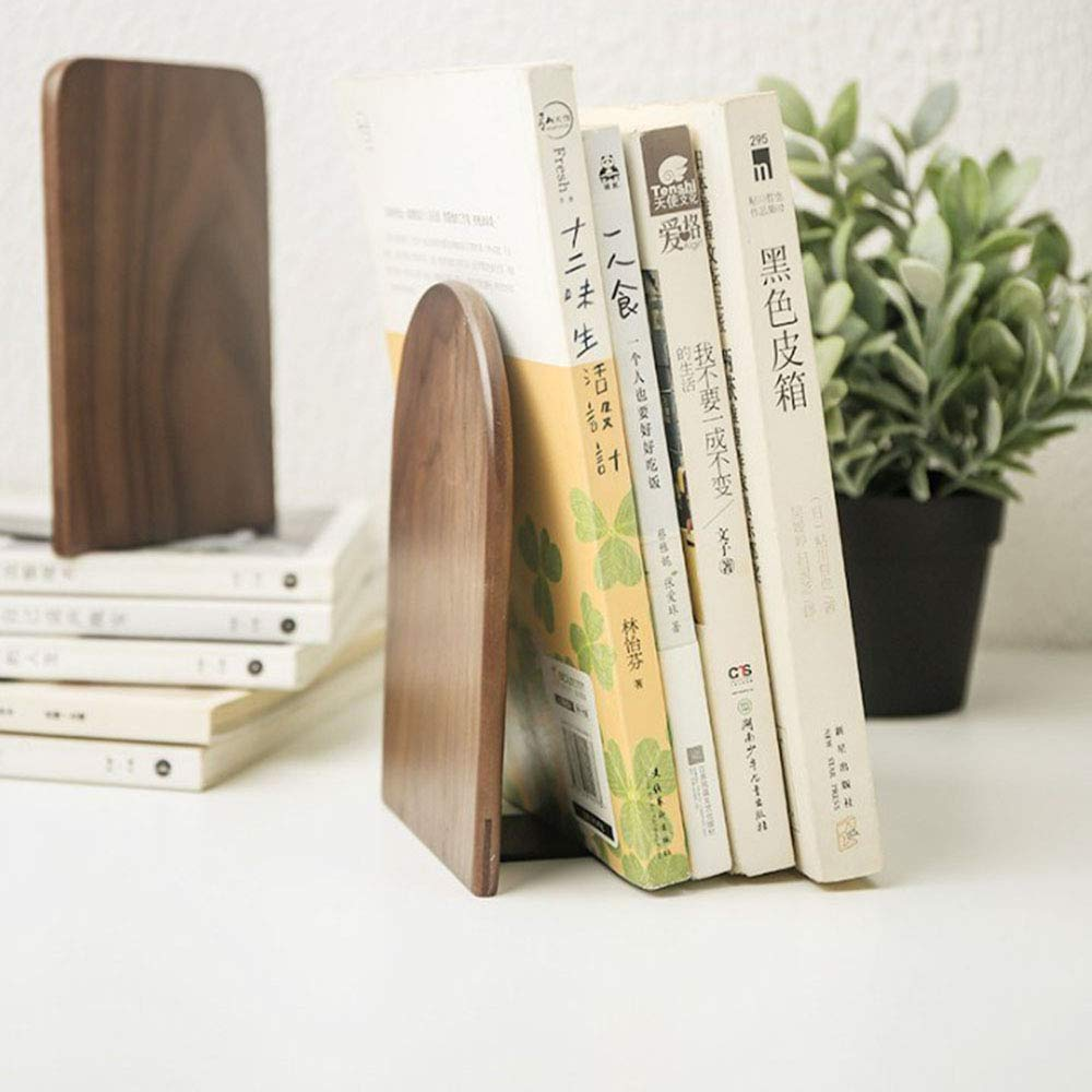 Brown SunnyClover Wooden Bookends Round Book Holder Simple Anti-Skid Book Stand for Office Home School