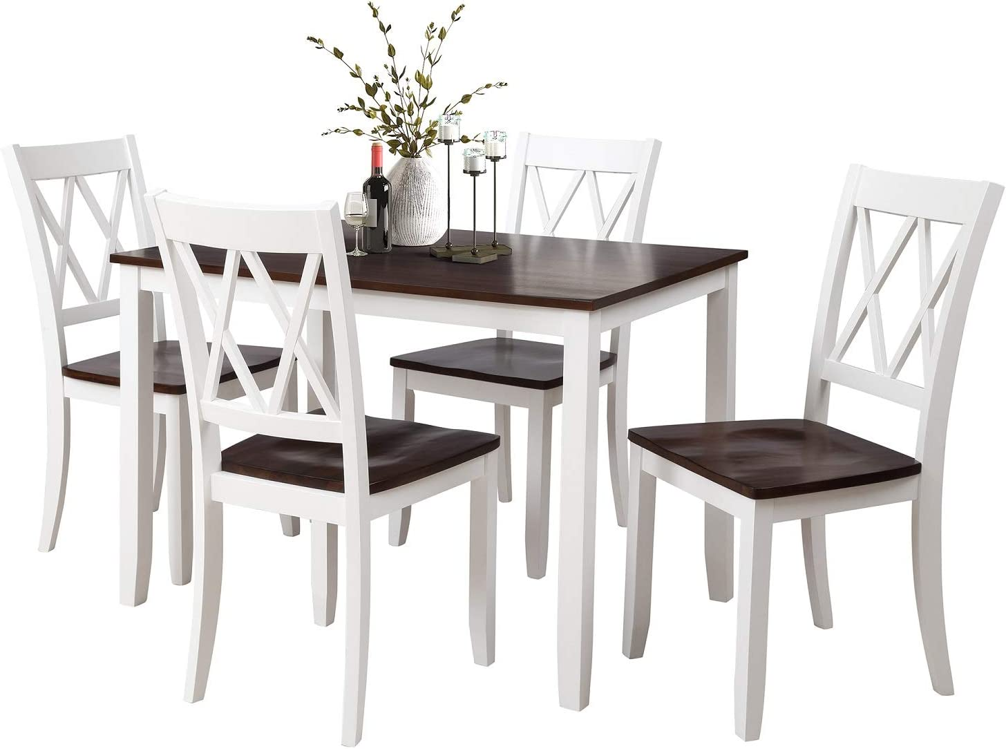 Rhomtree Dining Room Table and Chairs 5Pieces Wood Kitchen Dining Set Dinette Set for 4 Person White