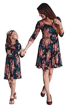 65130f0651f Mommy and Me Floral Print Short Sleeve Maxi Midi Dresses Family Matching  High Waist Vintage Swing