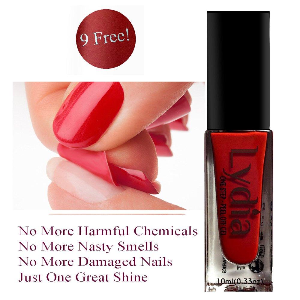 Amazon.com: Lydia One Step, Peel-Off Gel Nail Polish. Nine Free, Non ...