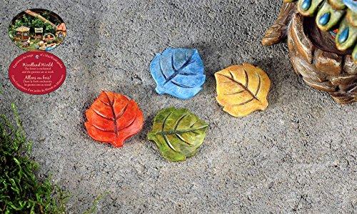 Mini Colorful Fairy Garden Leaf Stepping Stones Miniature Yard Decor Statue Dollhouse Accent
