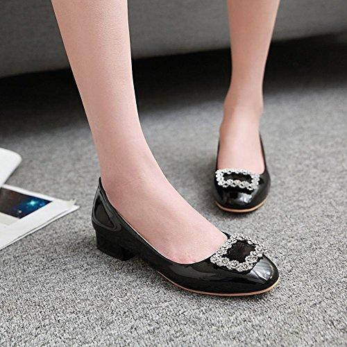 Charm Foot Womens Comfort Low Heel Rhinestone Round Toe Pump Shoes Black THm2clF