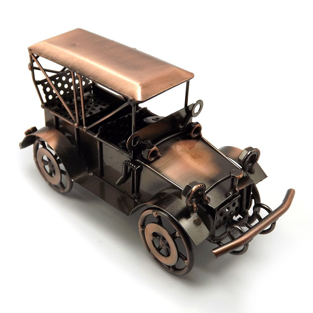 Escomdp Antique Vintage Car Home Décor Room Decoration Ornaments Handcrafted Collectible Vehicle Metal Kids Model Toy Red copper