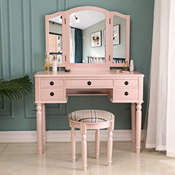 Amazon Com Joybase Vanity Set Makeup Vanity Table With Tri Folding Mirror Drawer And Cushioned Stool Vanity Beauty Station Makeup Dressing Table Set Fluorescent Pink Kitchen Dining