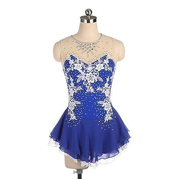 Traje azul de patinaje artístico para niña, traje de la ...