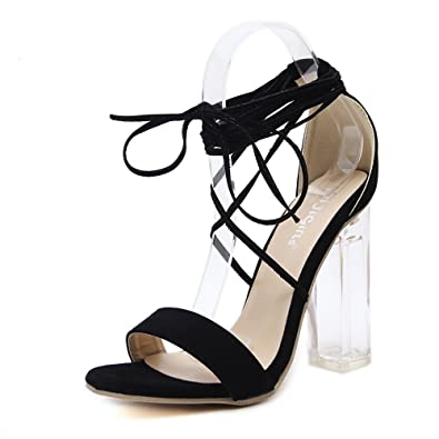 NEW WOMEN LADIES STILETTO HIGH HEEL LACE UP ANKLE STRAPPY CUT OUT SANDALS SHOES