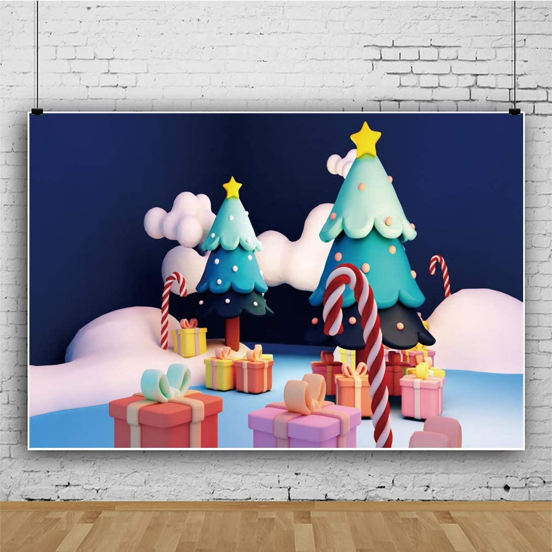 Yeele Cartoon Christmas Trees Gifts Backdrop Kids Xmas Party Photography Background Kids Adutls Artistic Portrait 10x8ft New Year Events Room Decor Photo Booth Photoshoot Video Drape Wallpaper