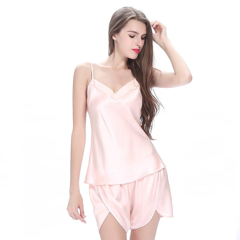 LilySilk Silk Women Pajama Sets 7pcs Hair Band and Hair Ties Short and Long Sets Sleepwear Ladies Light Pink XL/14-16 by LilySilk (Image #5)