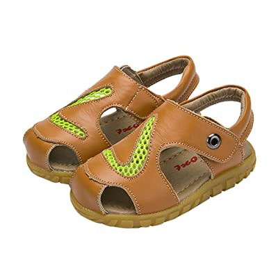 Hollow Out Boy's Summer Leather Casual Beach Sandals Yellow, Feet Length 13.3CM