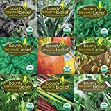 """Super Greens"" Organic Garden Vegetable Seeds - 8 Gardening Guide eBooks - Organic, Non GMO, Survival Vegetable Garden Seed Packets - Herbs, Beets, Broccoli, Kale, Mesclun, Chard, Mustard, Spinach"