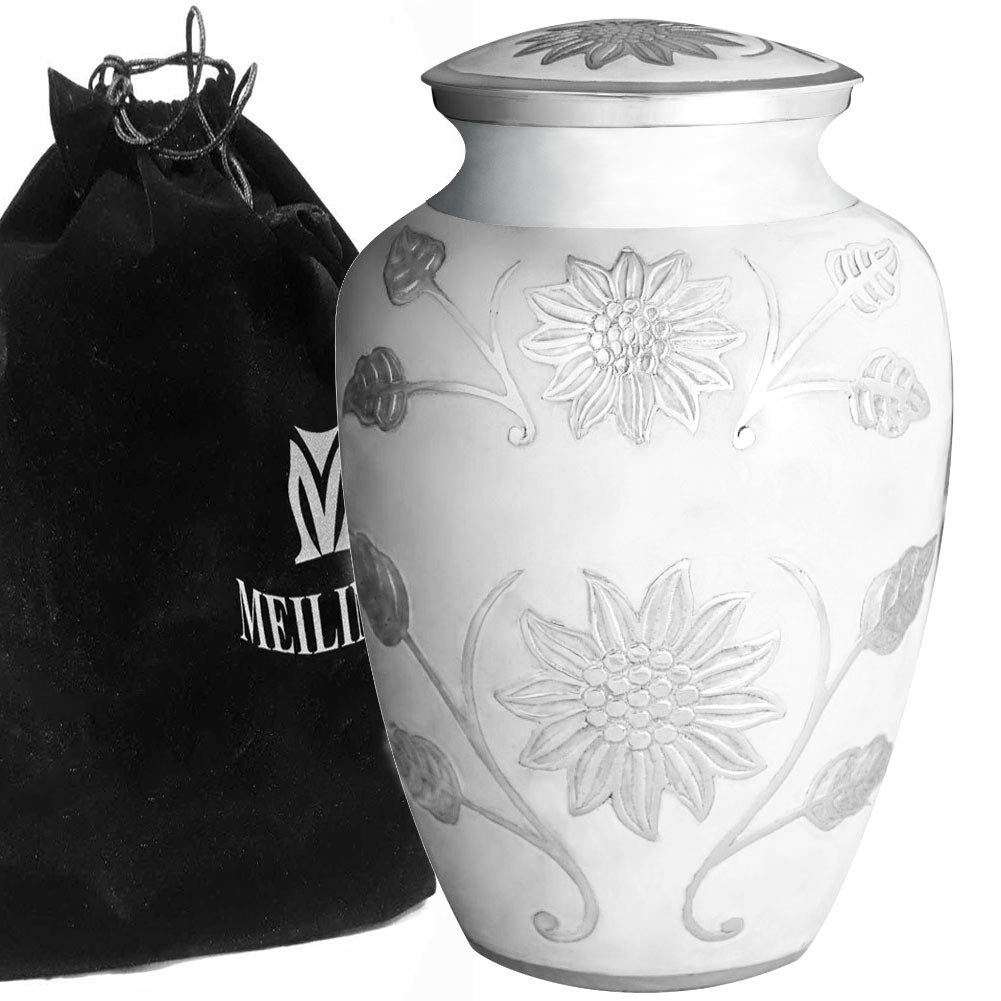 MEILINXU Funeral Urn Cremation Urns for Human Ashes Adult and Memorial - Hand Made in Brass and Hand Engraved - Display Burial Urns at Home or in Niche at Columbarium (Rosedale White, Large Urn) Meilinxu Memorials CR-MLX-2898L