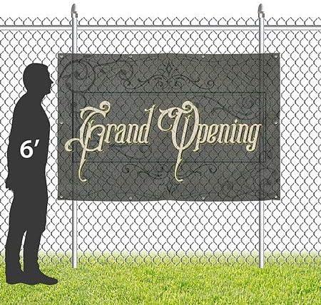 CGSignLab 9x6 Grand Opening Victorian Frame Wind-Resistant Outdoor Mesh Vinyl Banner