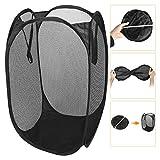 ABC life Lightweight Pop-up Folding Breathable Mesh Portable Storage Laundry Basket Hamper Reinforced Handle (Black)