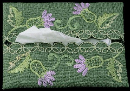 (Pocket Tissue Holder in a Green Balmoral Thistle Design by Justina Claire)